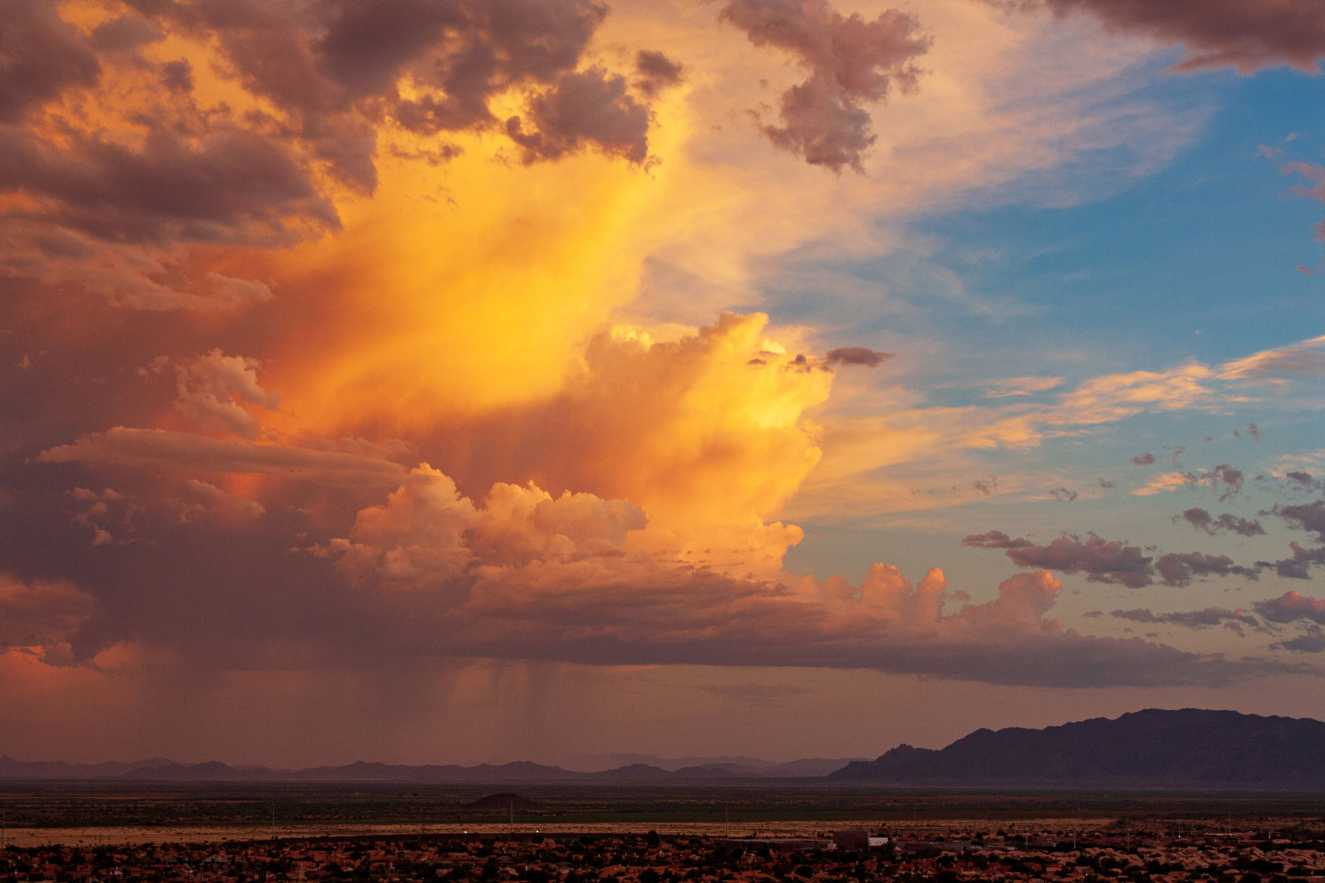 An Arizona monsoon storm at sunset