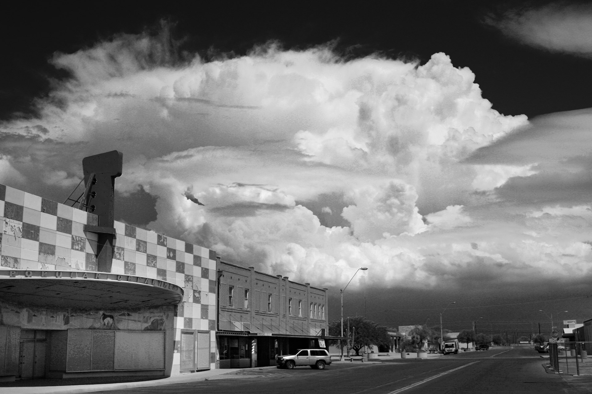 A monsoon storm viewed from Central Avenue in Coolidge, Arizona