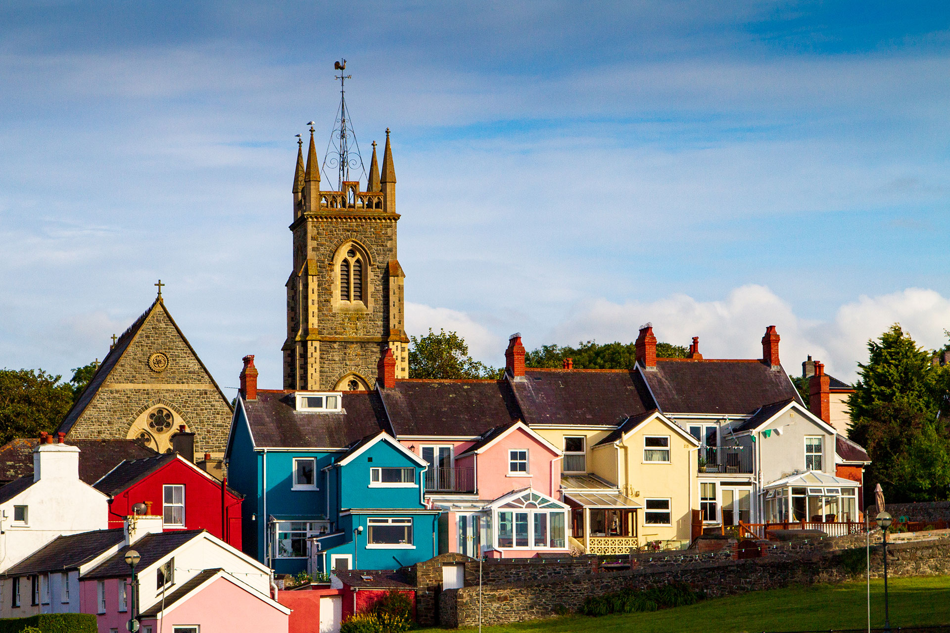 Colorful homes and church tower in Aberaeron, Wales