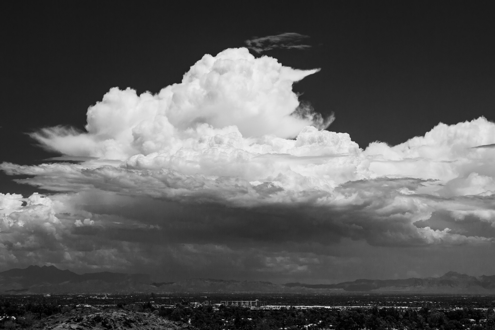 A storm builds over the East Valley